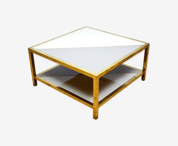 Table Basse En Verre Teinté Deux Couleurs Crème Et Gris Bleu Verre