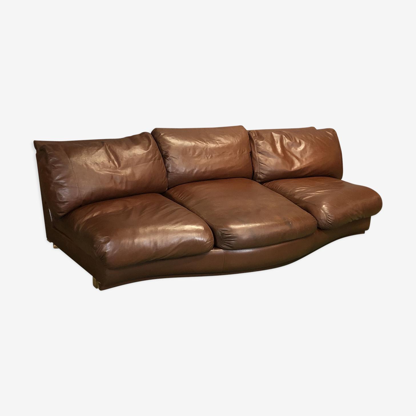 Canapé des années 70 en cuir marron