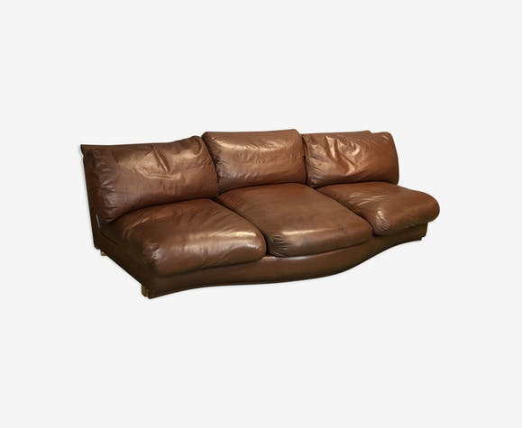 Early 1970s brown leather sofa