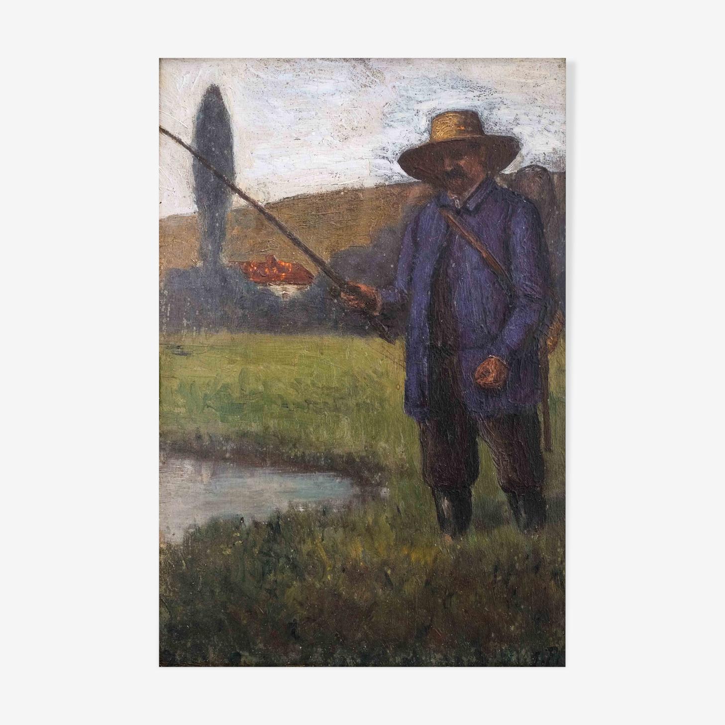 Peinture 19ème, Homme à la pêche