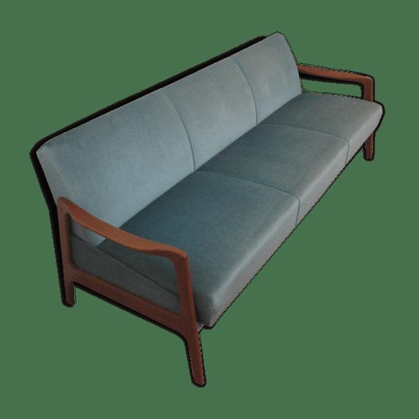 Sofa Bed Bench Daybed Scandinavian Danish 50 60 Velvet Blue Vintage Q9gmbph
