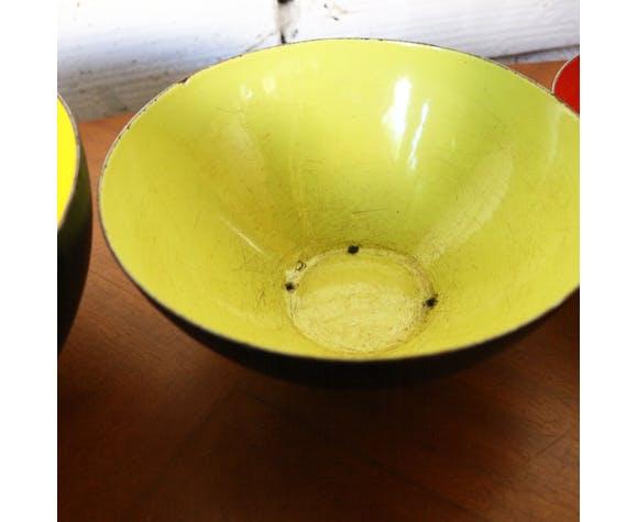 Set of 3 bowls and bowls krenit denmark vintage enameled metal