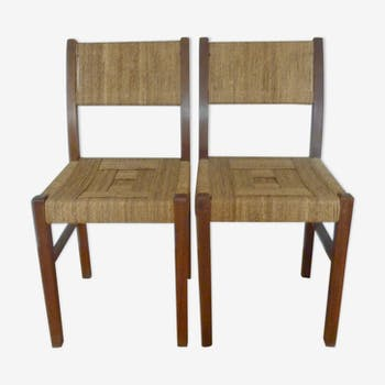 Pair of chairs Francis Jordan wood and rope of the 1930s