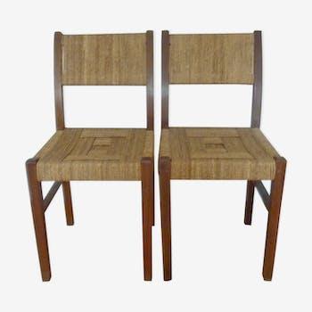 Paire de chaises Francis Jourdain en bois et corde des années 30