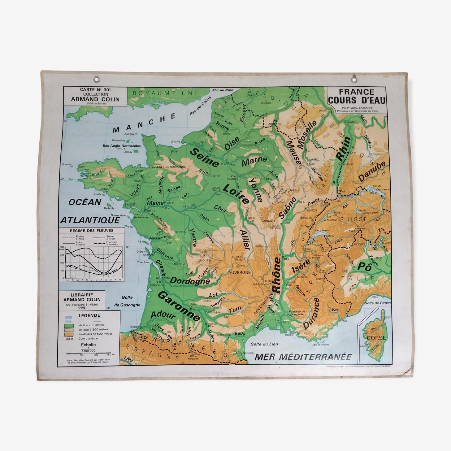 Carte géographique scolaire france (politique et cours d'eau)