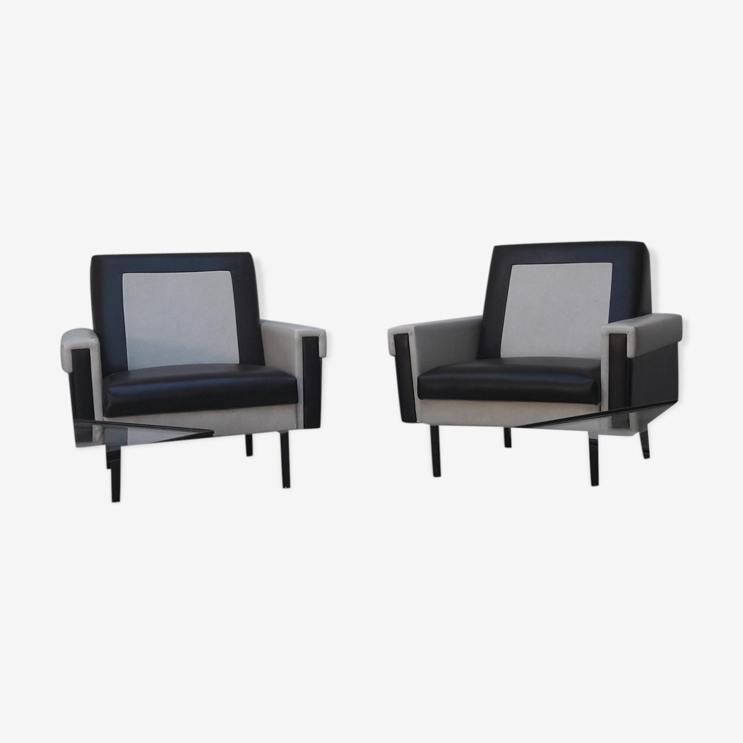 Paire de fauteuils modernistes années 50