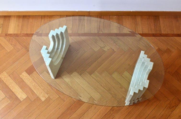 Table basse géométrique minimaliste en marbre de Carrare et verre de Cattelan, Italie, années 1970