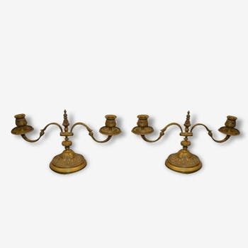 Candle holders in bronze (pair)
