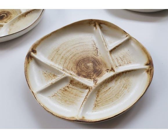 Set de 6 assiettes décor bois