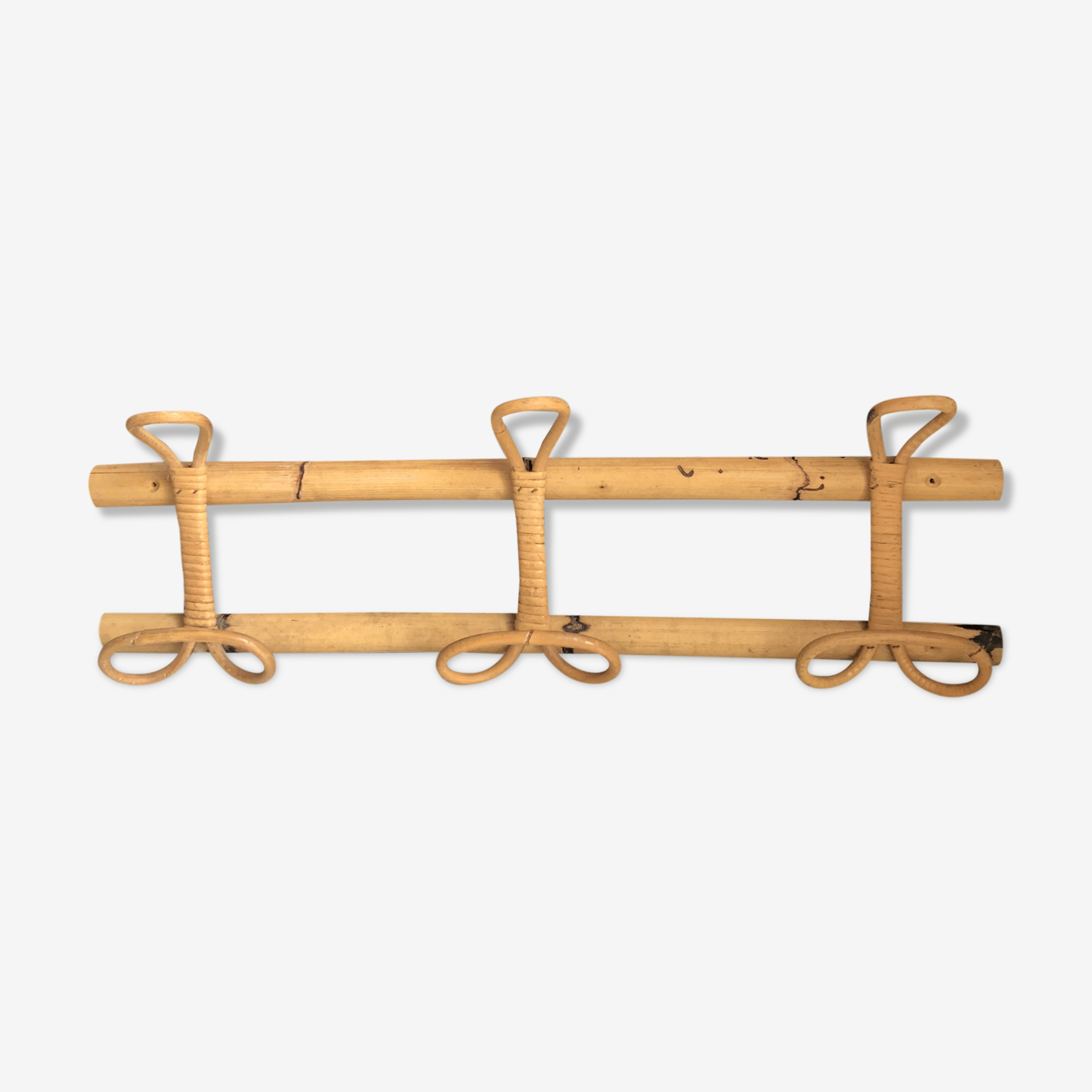 Coat rack in bamboo and rattan