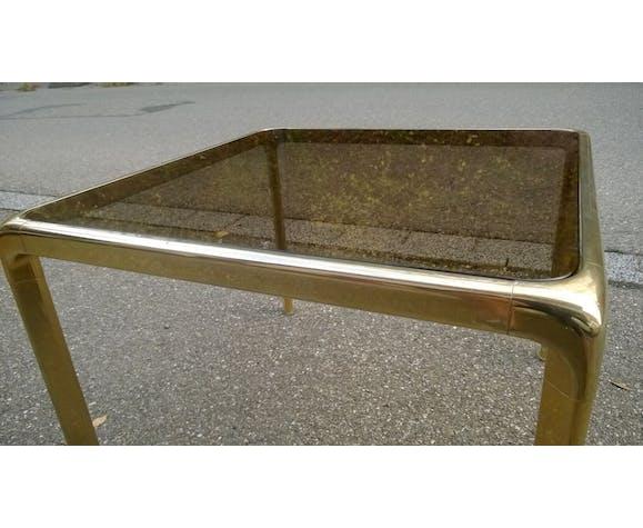 Table basse laiton et verre fumé