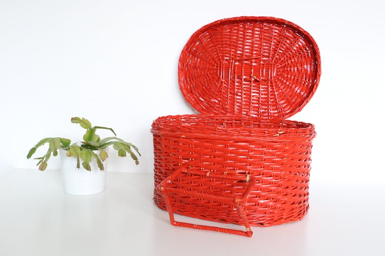Wicker red basket