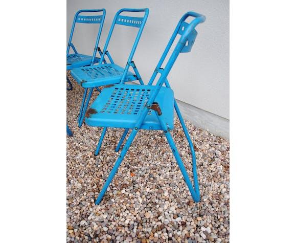 Lot de 5 chaises pliantes en métal Souvignet 1960   Selency