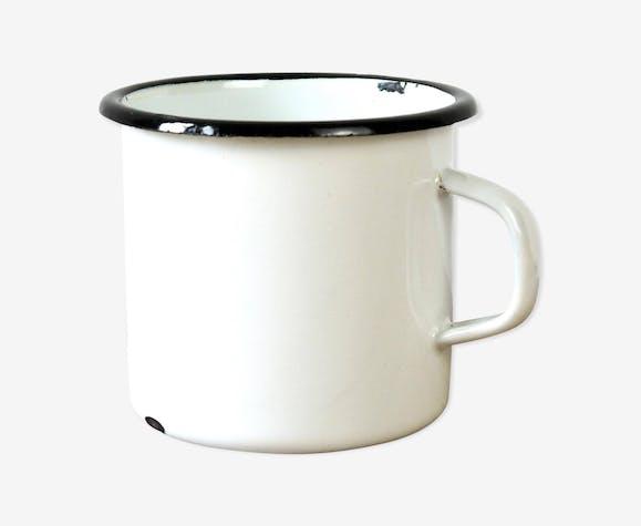 Tôle Émail Émaillée Blanc Mug En Noir Et Bord Tasse Vintage 13JcTlFK