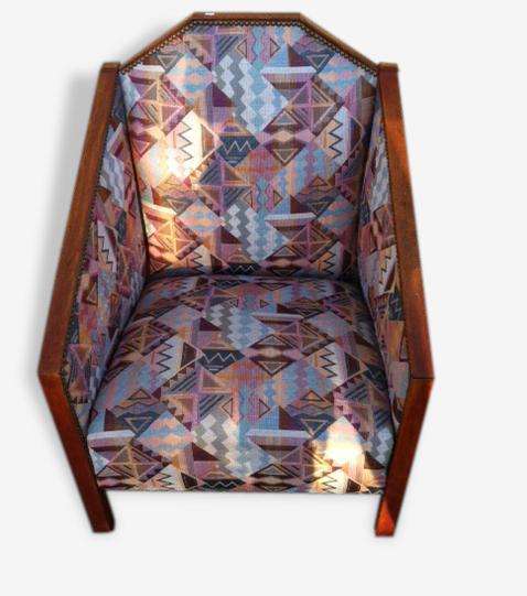 Petit Fauteuil Art Deco Tissu Multicolore Vintage 50994