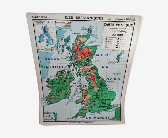 Carte scolaire îles britanniques Hatier vintage n°58 et 58bis par Edouard Bruley