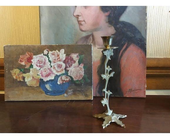 Brass flower candlestick