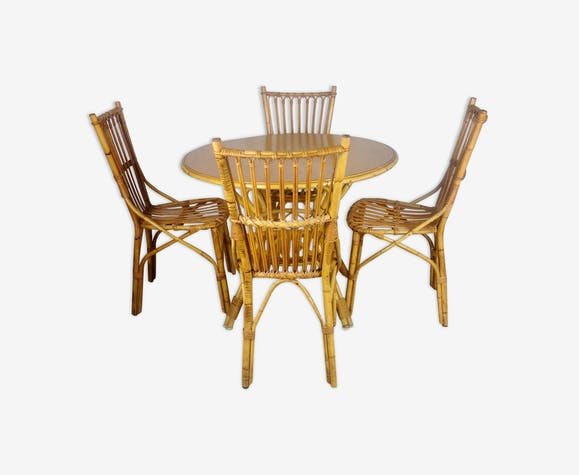 Ensemble table ronde en rotin avec 4 chaises - rotin et osier - bois ...