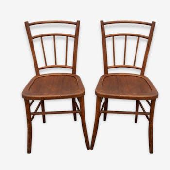 Paire de 2 chaises en bois courbé