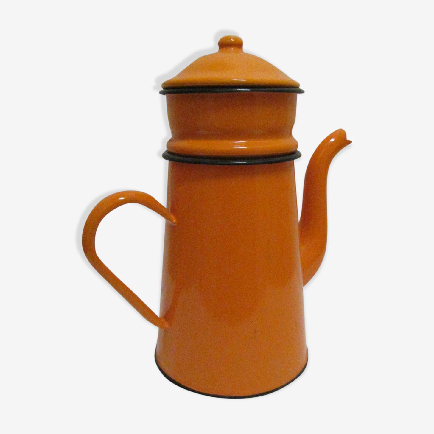Cafetiere orange émail vintage