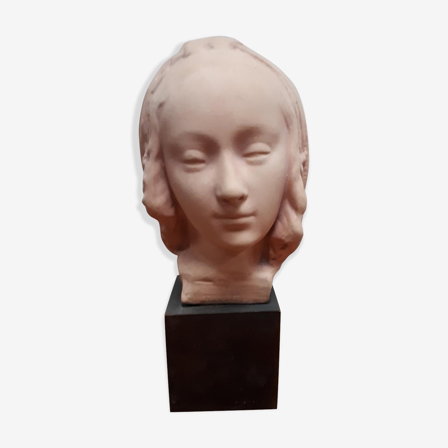 Buste terre cuite patiné tête madone vierge renaissance italienne