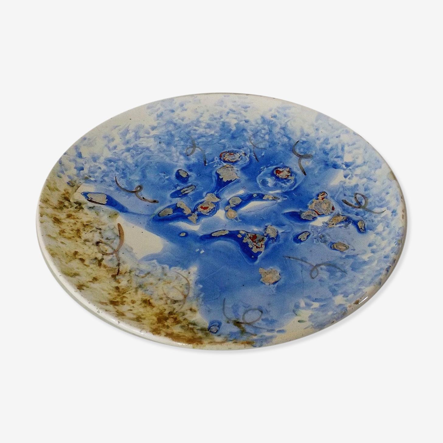 Assiette céramique / Plat Décor émaillée bleu, circa 1970