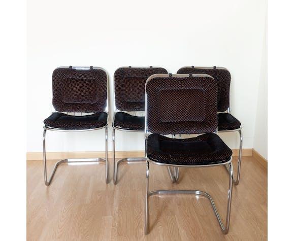 Lot 4 chaises métal chromé, coussin velours noir