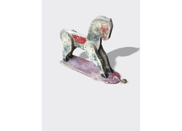jouet ancien pour enfant cheval en bois polychrome bois mat riau rouge vintage 5385. Black Bedroom Furniture Sets. Home Design Ideas