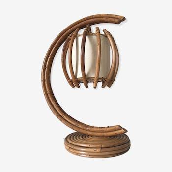 Vintage rattan lamp, 60s