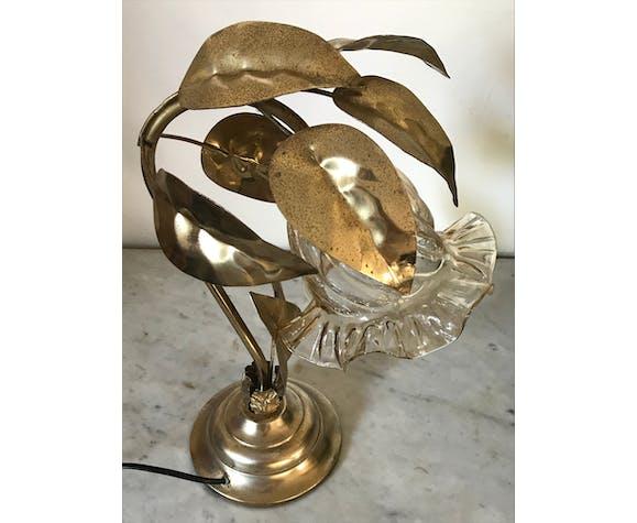Lamp golden leaves 70s