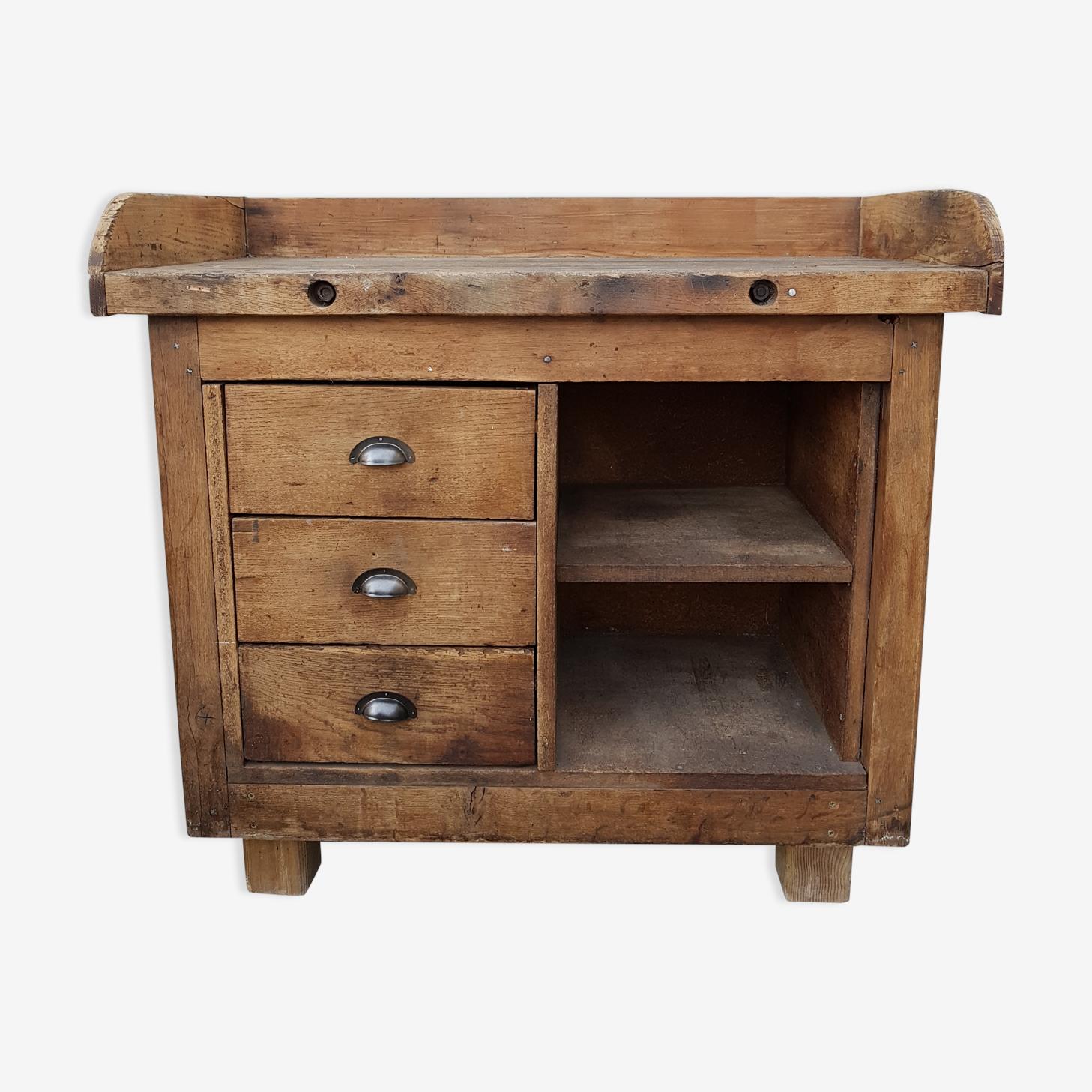 Ancien meuble de métier en bois brut