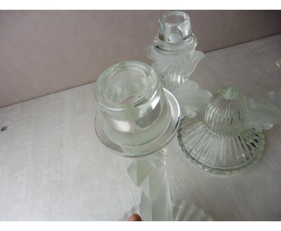 Paires d'anciens bougeoirs, en cristal de bohème, République Tchèque
