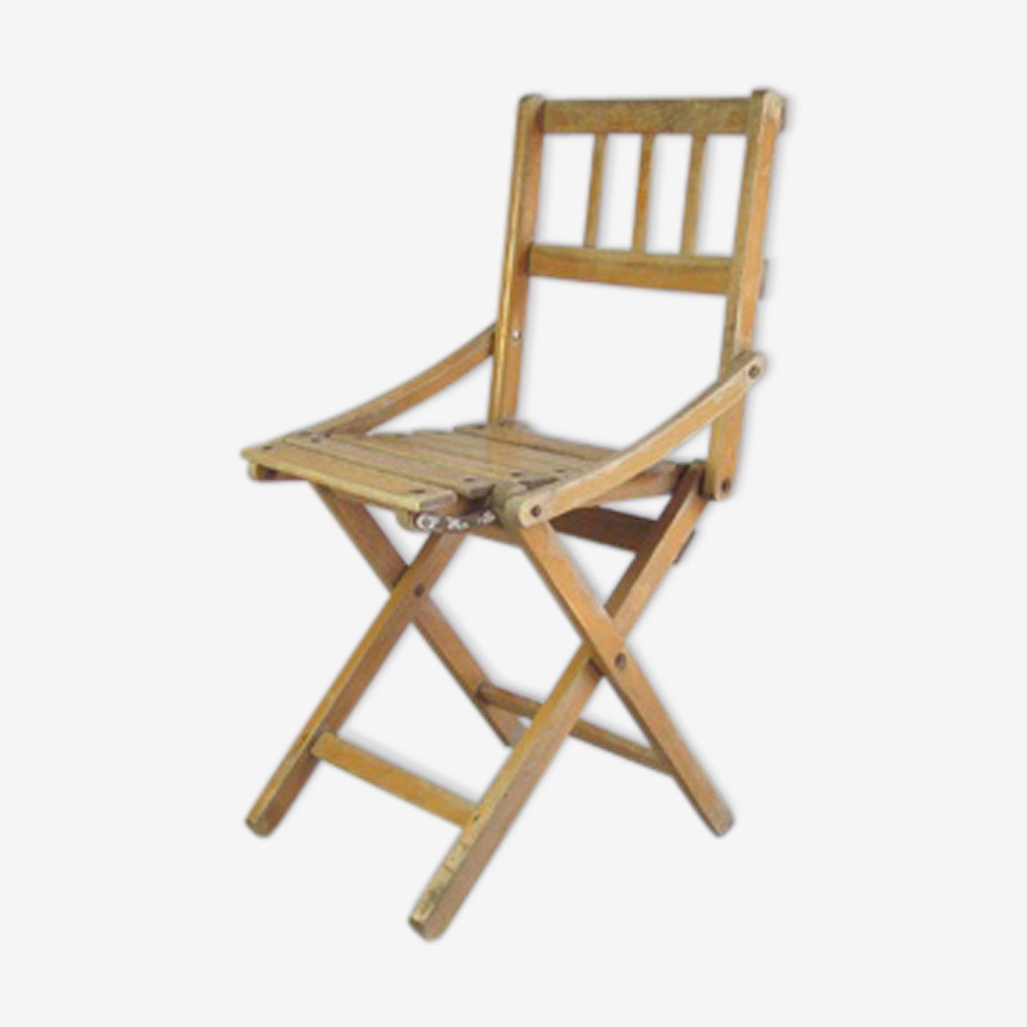 Chaise en bois vintage pliable