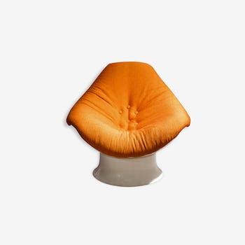 Fauteuil coque blanc et orange