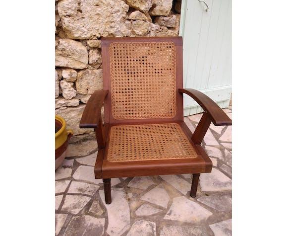 Set de 2 fauteuils anciens en canné des années 50