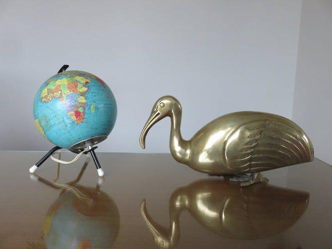 Ibis en laiton doré années 60 70