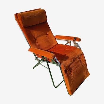 Transat Lafuma Starlax en tubes d'acier & velours orange années 70