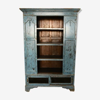 Patina blue glass furniture buffet sideboard Cabinet wood teak metal India