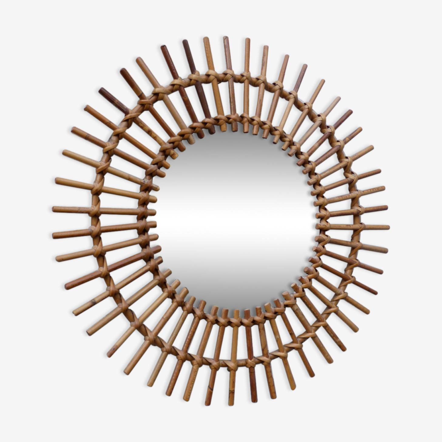 Miroir soleil rotin vintage 50-60 59cm