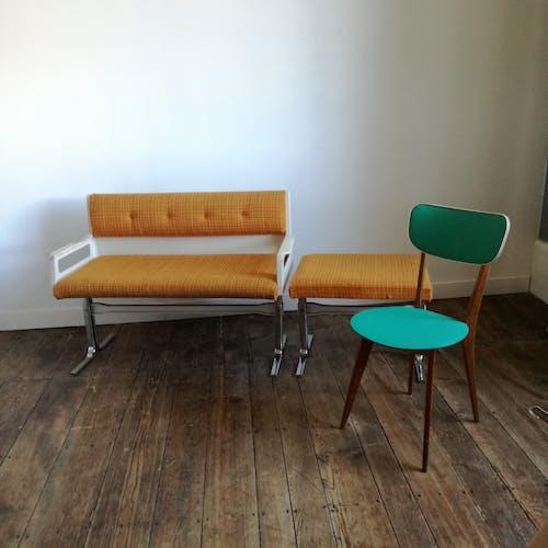 Banquette et ottoman vintage de salle d'attente - 1970