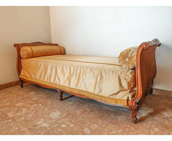 Lit de repos Louis XV en cannage