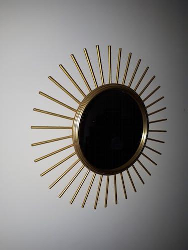 Miroir soleil metal doré 40cm