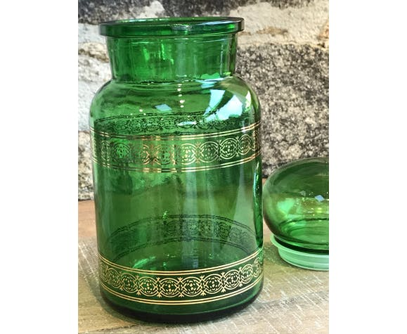 Pot of green glass and gilding apothecary 1970