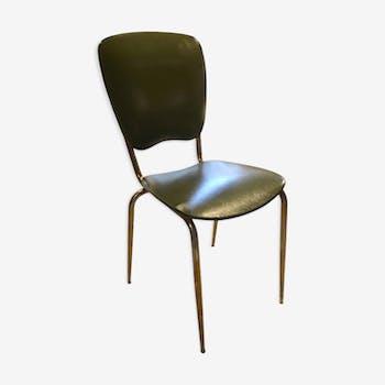 Chaise italienne, années 60, en skai vert