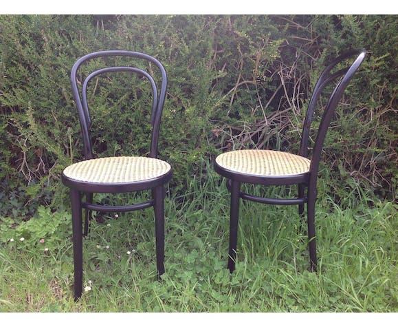 2 chaises bistrot bois courbé cannage Thonet, ZPM Radomsko