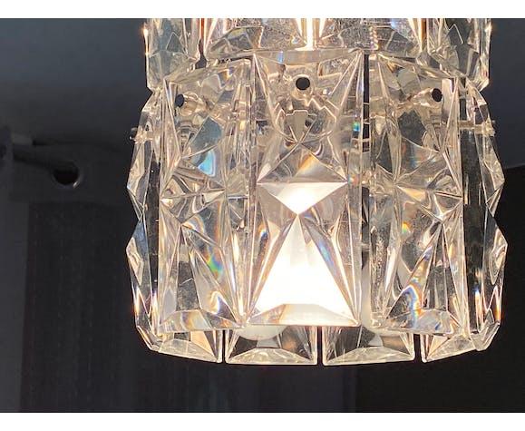 Lustre Kinkeldey en acier chromé et pampilles en cristal