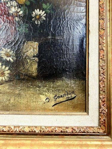Huile sur toile, nature morte aux fleurs et a la serpe daté 1906, Elisabeth Grandin XIX  XXème