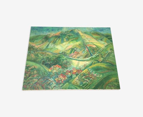 Tableau paysage verdoyant et viticole de Cerdon