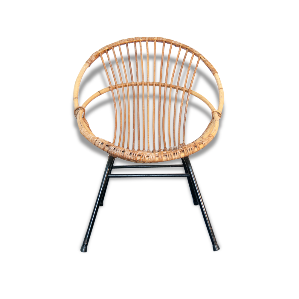 fauteuil rotin & métal noir coquille - vintage - rotin et osier