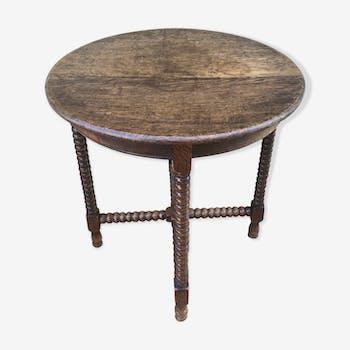 Table appoint ronde bois pieds tournés vintage
